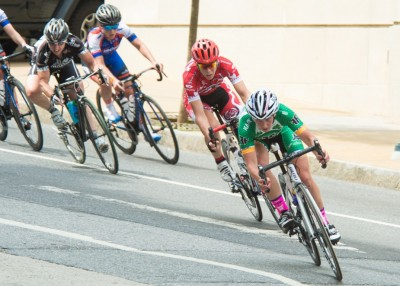 Women's Pro racers line up a turn